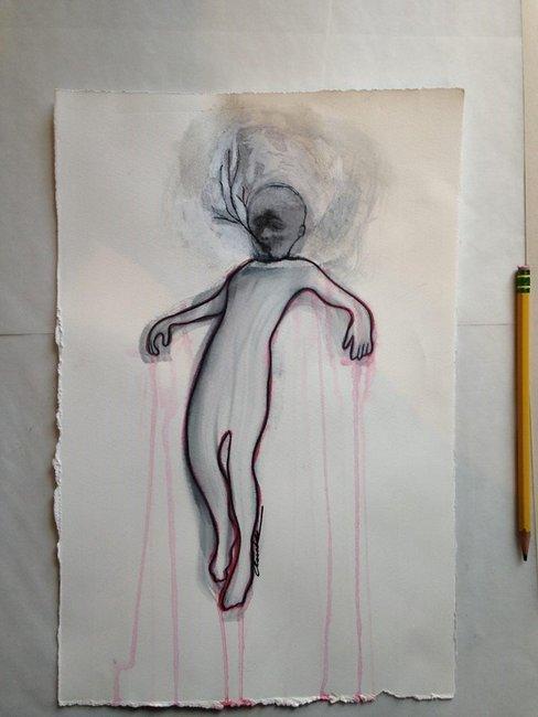 La nature suspendue, 2016, mixte sur papier, 38x25cm.